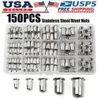 150Pcs Rivet Nuts Stainless Steel Threaded Insert Nut Nutsert Rivnuts Flat Head