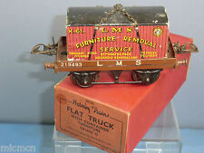 "VINTAGE ""O"" HORNBY MODEL No.1 LMS FLAT TRUCK WITH FURNITURE CONTAINER VN MIB"