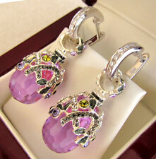 SALE ! GORGEOUS RUSSIAN AMETHYST made of STERLING SILVER 925  EARRINGS w/ ENAMEL