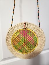 Handmade Colombian Colorful Round Cross-body Tote Straw Bag Multicolor NEW