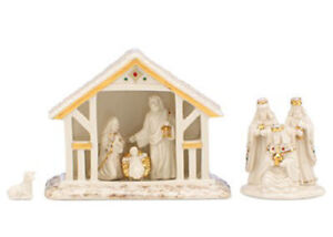 Collectible Lenox Mistletoe Park Away in a Manger Nativity 6 Pc Set New In Box