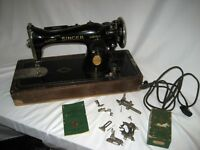 Vintage Singer 15-91 Straight Stitch sewing machine 1936 Bentwood Dome Wood case