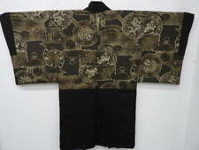 Vintage Men's Black Silk Japanese HAORI w/Dragon G747