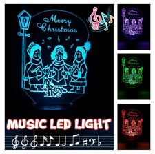 Xmas Carols Music Bluetooth Speaker LED Night Light  Color Change TF/SD Card