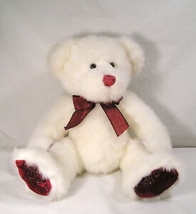 """14"""" TWINKLES White Sparkle Red Glitter Teddy Bear by Russ, Christmas Plush"""