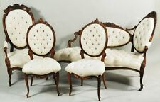 4 pc Antique Carved Rosewood Chaise/settee/chairs Parlor set Silk upholstery