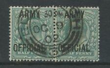 GB OFFICIAL ARMY KE7 1/2d PAIR..SUPERB EDINBURGH CODE 3