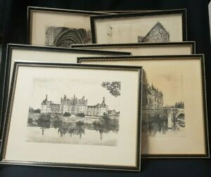 Set of 7 Original Leopold Robin French Copperplate Etchings (Framed)
