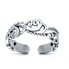 Toe Ring In 14K White Gold Over Solid 925 Sterling Silver Adjustable Wave Style