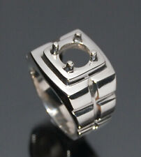 Mens silver ring 925 round 8 mm semi mount setting size 7 8 9 10 11 12  US