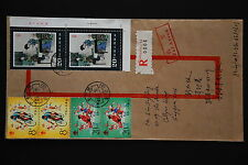 China PRC T99 Peony Pavilion 8f x 2, 20f x 2 on Cover - Registered to Singapore