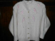 Vintage 1950 Soft Pink Embellished Angora Lined in Nylon Sweater Jacket Size S/M