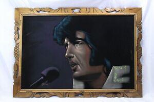"""Elvis Presley Black Velvet Painting 36"""" x 24"""" The King Oil Painting Signed"""