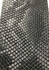 Black Faux Viper Snake Skin Vinyl-faux Leather-3D Scales- By The Yard