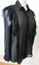 AUTOGRAPH LONG SLEEVE RUFFLE PANEL BUTTON FRONT BLOUSE/TOP  ~ 10