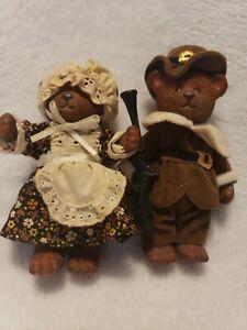 Vintage Russ Berrie Co. 1980's Thanks Giving Pilgrim Bears D1