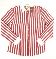 RM Williams Womens Long Sleeve Red & White Striped Shirt Size 14 Semi Fitted