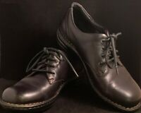 BORN HAND CRAFTED Black Leather Lace Up Loafer Oxford Shoes 7, 38 EU Women's EUC