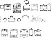 collection of bed frame design dxf file for cnc router- cnc vector Ready to Cut
