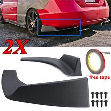 Pair Universal 30x4 Inch Black Car Rear Bumper Lip Splitters Winglets Canards