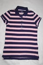 Womens S/S Polo Shirt LIGHT PINK NAVY BLUE STRIPE Cap Sleeve S 4-6