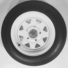 "Trailer Tire + Rim 4.80-12 480-12 4.80 X 12 12"" LRB 5 Lug Wheel White Spoke"