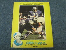 Aug 20, 1965 Baltimore Colts vs Detroit Lions Official Program