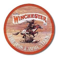 Winchester Firearms & Ammunition Express Ammo Hunt Retro Round Metal Tin  Sign