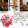100 Artificial Red Holly Berries Garland Christmas Tree Decoration Ornament Xmas