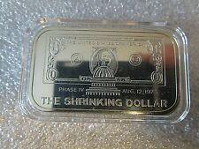 1973 1oz THE SHRINKING DOLLAR Garden State Mint .999 Fine Silver Art Bar