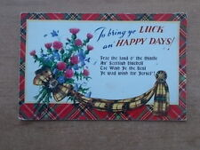 VINTAGE POSTCARD - TO BRING YE LUCK AN HAPPY DAYS - FRAE THE LAND O' THE THISTLE