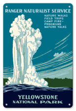 Yellowstone National Park Old Faithful Geyser 1938 - 8in x 12in Vintage Metal Si