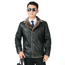Men PU Leather Jacket Coat Warm Button Winter Fur Fleece Lined Cowboy Biker Cool