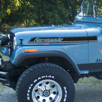 Jeep Wrangler Renegade Hood Side Stripes graphics Decals Kit CJ, TJ, YJ sticker