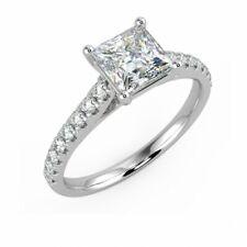 3.25 ct Princess Diamond Claw Setting Silver Ring VVS1/D New Ring