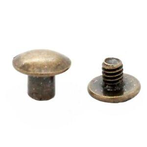 """Antique Brass Binder Post 1/4"""" Steel Chicago Screws 10 Pack 1290-15"""