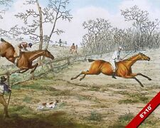 1800'S ENGLISH HORSE RACE RACING STEEPLE CHASE PAINTING ART REAL CANVAS PRINT