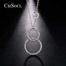 New Women Lady CZ Infinity Long Chain Necklace Pendant Girl Silver Charm Jewelry