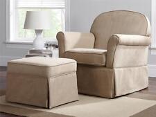 Beige Baby Rocking Chair Glider AND Ottoman Nursery Furniture Swivel Rocker NEW