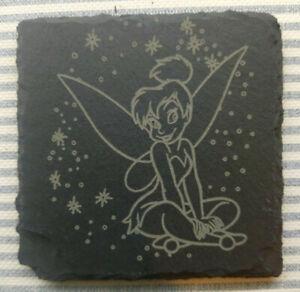 Premium Natural Slate Tinkerbell Fairy Coaster Gift Set Disney Peter Pan Fairy