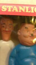 Vintage Laurel And Hardy Plastic Toy Dolls Figurines Stanlio Olio Box Rare Italy