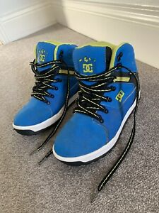 DC Shoes Electric Blue Neon Yellow Boots, Size 4, Waterproof, Lace Ups