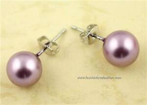 Pierced Faux,Imitation Pearl Round Stud Earrings 14 Colors Small:8mm to XL:14mm