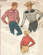 4703 Simplicity Sewing Pattern Mens Fitted Western Shirt Size 44 Vintage 1960s