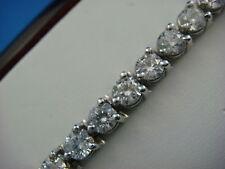GORGEOUS 8 CARAT DIAMOND AIRLINE TENNIS BRACELET CLASSIC 3 PRONGS 14k White Gold