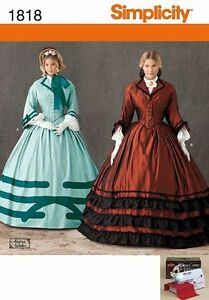 SIMPLICITY PATTERN 1818 MISSES CIVIL WAR DAY DRESS GOWN COSTUME 8-14 OR 16-24