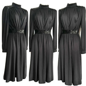 VTG 80s TLMC Gothic Black High Neck Governess Dress Victorian Mistress UK 12/14
