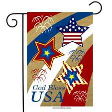 "God Bless USA Burlap Garden Flag Patriotic Holiday 12.5"" x 18"" Briarwood Lane"