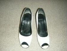 Ladies White and Black Slim Heeled Court Shoes Size 6