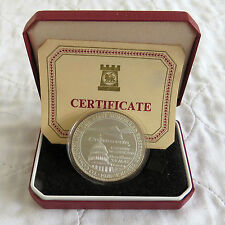CONCORDE 1976 LONDON - WASHINGTON HM SILVER PROOF CROWNMEDAL - boxed/coa